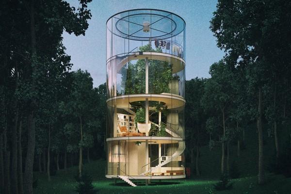 Αυτό το εκπληκτικό γυάλινο σπίτι είναι χτισμένο γύρω από έναν κορμό δέντρου