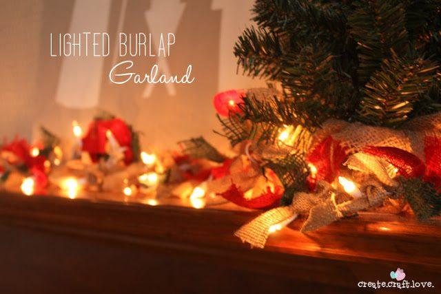 Πως να φτιάξουμε Χριστουγεννιάτικη Γιρλάντα με Φωτάκια και Λινάτσα! 1